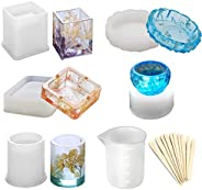 Herafica Epoxy Resin Silicone Molds, Large Art Resin Molds for Coaster/Ashtray/Flower Pot/Pen Candle Soap Jewe