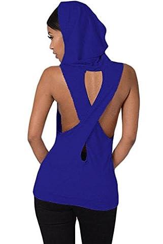 Neue Damen Blau mit Kapuze Cross Back T-Shirt Club tragen Tops Casual Wear Kleidung Größe M UK 10–12
