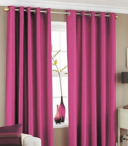 "•ROHILinen• Premium Pair of HOT PINK 66″ Width x 72″ Drop, Luxury Faux Silk Ring Top Eyelet Curtains, Fully Lined Ready Made Curtain + ""Includes Complimentary Matching Tie Backs FREE"""