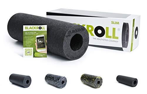 BLACKROLL Slim faszie Ruolo–Das Original (durezza Media)–Die Schlanke Stesso di Massaggio Rotolo per Die Faszien in Nero + Booklet