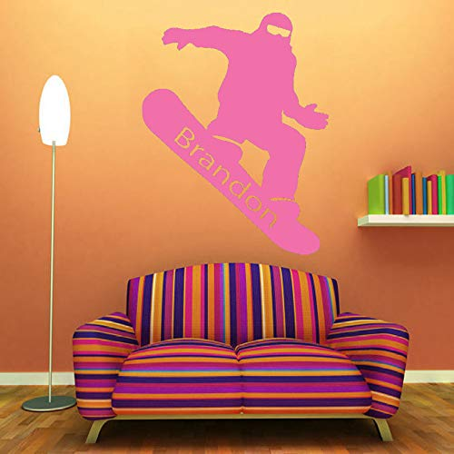 guijiumai Wandtattoo Vinyl Raumdekoration Snowboarden Personalisierte Name Kunst Abnehmbare Aufkleber Junge Room Decor Y 5 57X72 cm