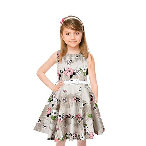 HBBMagic Maedchen Audrey 1950er Vintage Baumwolle Kleid Hepburn Stil Kleid Blumen Kleid Tupfen Kleid, Grauer Blumenstrauß, 9-10 Jahre/135-142CM (Mädchen Schule Stil)