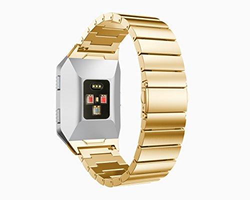 Armband, yustar Fitness Tracker Accessoires New Ersatz Edelstahl Smart Watch Band Armband mit Repair Tool für Fitbit Ionic Herzfrequenz Tracker M gold