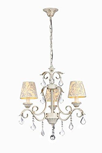 Stilvoller romantischer Kronleuchter aus beigem Metall, gemusterte Stoff-Schirme, klare Kristalltropfen, 3-flammig exkl. 3 E14 40W, 220 V - 240 V (Gemusterte Stoffschirm)