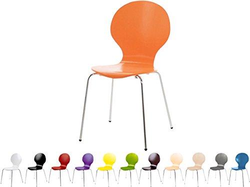 Stapelstuhl Bistrostuhl Stuhl Esszimmerstuhl Küchenstuhl Design Metall Holz stapelbar sehr belastbar Marcus (Orange)