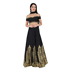 Amaira Black Off Shoulder Embroidered Lehenga Set