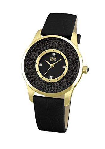 Davis 1789 - Womens Crystal Watch Yellow Gold Case Black Swarovski Rhinestone Strass Black Dial Black Leather Strap