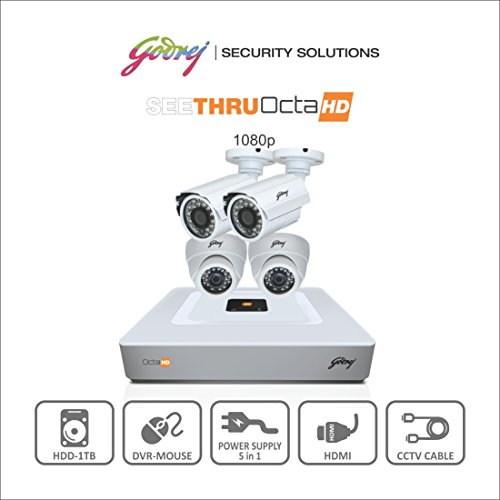 Godrej Octra Hd 1080p Sehcctv1500-2b2d 1.3mp 8-channel Dvr With 2 Bullet And 2 Dome Cameras (white)