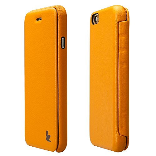 Coque iPhone 6S, Jisoncase Etui avec Rabat Housse de Protection En Cuir PU Ultra Slim Pour Apple iPhone 6 6S 4,7 pouces Folio Case Cover Fermeture Magnétique JS-IP6-32H80-FR Jaune iPhone 6/6s 4.7'' Jaune