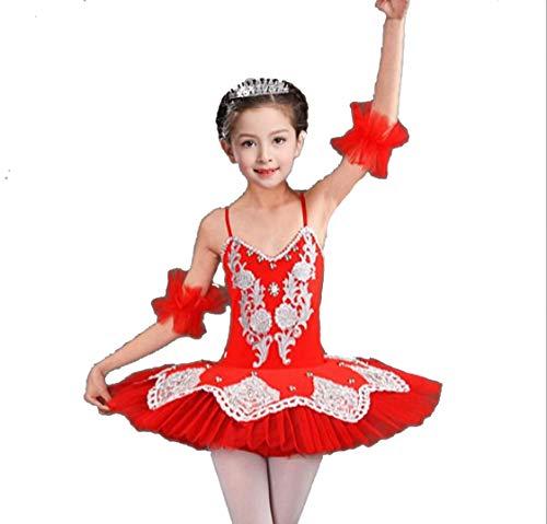 ZYLL Mädchen tanzen Kostüme Ballet Tutu See Ballett weiß-rot-blau rosa,Red,120CM (Red Tutu Für Mädchen)