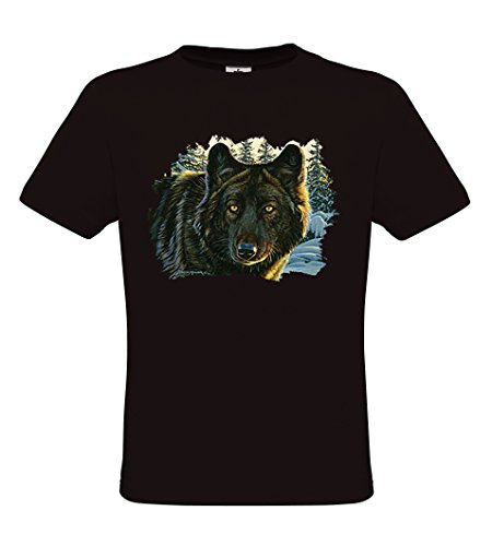 Ethno Designs Wildlife - Black Wolf - Tiermotiv Raubtiere - Wolf T-Shirt für Damen & Herren - regular fit Black
