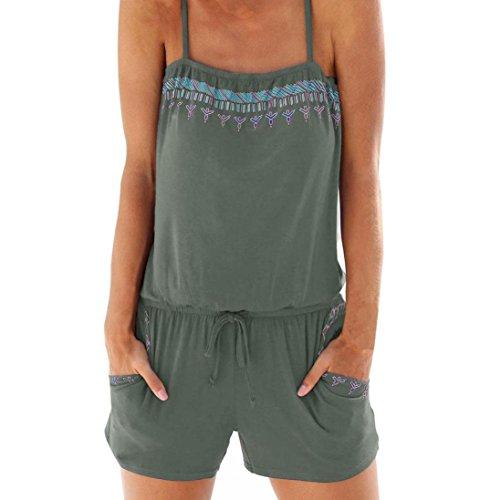 Longra Damen Jumpsuit Baumwolle Träger Latzhose Overalls- Lässig Sommer Shorts Kurz Jumpsuits mit Taschen Damen Mode Mädchen Insgesamt...