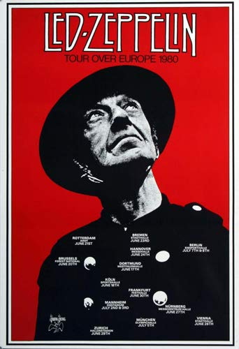 Premium Poster/Plakat | DIN A1 | Live Konzert Veranstaltung » Led Zeppelin - Tour Over Europe, Tour 1980 « -