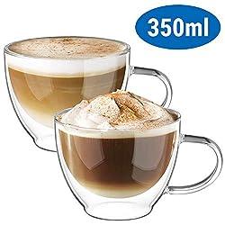 ecooe Doppelwandige Cappuccino Tassen Glaser Latte Macchiato Glaser Set Trinkgläser Kaffeeglas 2-teiliges 350ml (Volle Kapazität) φ8.5 * 10.5cm