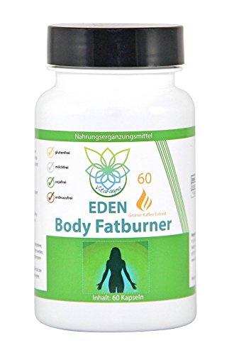 VITARAGNA Eden Body Fatburner Grüner Kaffee Extrakt 60 Kapseln, 500 mg, 50% Chlorogensäure, Green-Coffee Fettverbrenner Diät-Pillen, Abnehm-Pillen, auch bei Bauchfett
