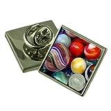 Jugando canicas de color plata esterlina Solapa Caja de regalo
