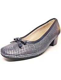 Zapato mujer salon tacon de la marca DOCTOR CUTILLAS en piel elastica grabada Azul adorno lazo PLANTILLA EXTRAIBLE 81107 - 79