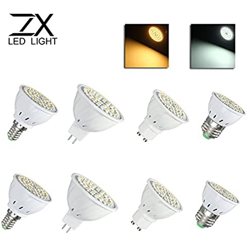 Bazaar E14 MR16 GU10 LED 4w 48 SMD 3528 LED pura blanca cálida Lámpara de la luz del punto del bulbo de AC110V AC220V blanco E27 ZX
