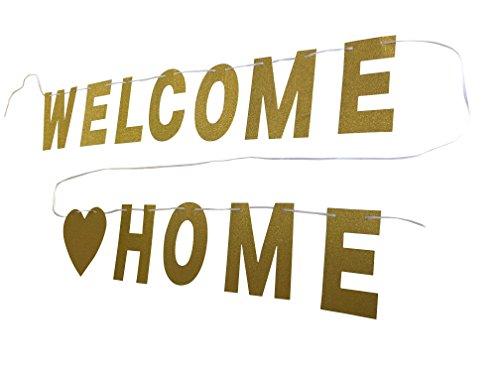 Preisvergleich Produktbild YEENI Glitter Willkommen Home Banner,  neue Startseite Banner,  militärische Willkommen Banner,  neue Baby Banner,  Gold Glitter Banner,  Photo Booth Requisiten,  für Glitter Party Decor