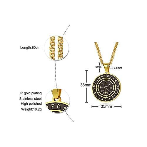 ERDING Halskette Schmuck/Geschenke/Slawische Wikinger Amulett Anhänger für Männer Edelstahl Vegvísir Viking Symbol Halsketten Tough Man Schmuck