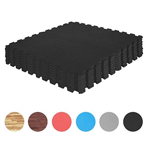 GORILLA SPORTS Schutzmatten-Set 8 Puzzle-Matten/Sport-Matten 60 x 60 cm, Bodenschutz in Schwarz