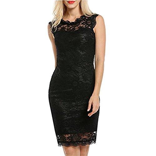 HET Damen Sommer Lange Rock Mode Arbeitskleidung Kleider Solid Einfach Casual Sleeveless Spitzenkleid Dünne Partei Kleid (XL, Schwarz) (College Kostüme Für Jungs)