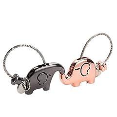 Idea Regalo - Joykey portachiavi elefante 1 paio per coppia amanti valentine dolce regalo zinco lega lucido Auto portachiavi,Colore della pistola e oro rosa