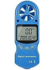 Ehdis® Anémomètre numérique Handy 3 en 1 LCD Vitesse du vent Température Mesure de l'humidité avec hygromètre Thermomètre Inclus Collier et sac protecteur
