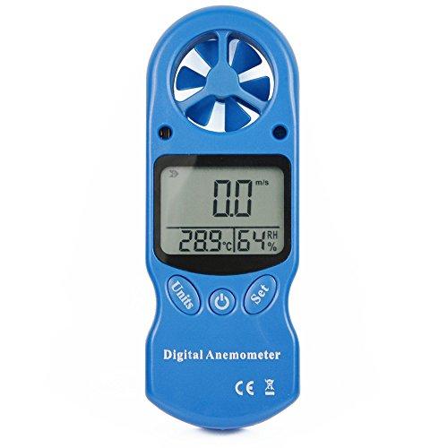 Ehdis® Anemómetro digital 3 en 1 portátil LCD Velocidad del viento Temperatura Humedad medidor con higrómetro Termómetro Incluido Correa para el cuello y bolsa protectora