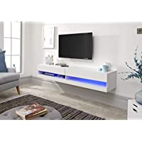 Galicia Wall Mounted Gloss TV Unit with LED - 120 & 180cm - Black, Grey or White#180White
