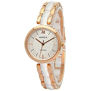 Amica Women's D-Ceramics Quartz Sapphire Rose Gold Tone Stainless Steel Wrist Watches A1-3