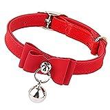 SungpunetDog Halskette mit Schleife Knoten verstellbar Leder PU Haustier Hund Katze Halsband Schleife Halskette Hund Kette (rot)