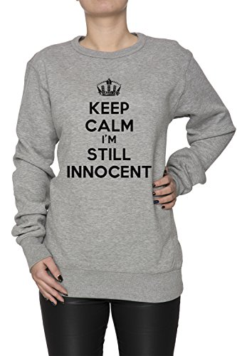Keep Calm Im Still Innocent Donna Grigio Felpa Felpe Maglione Pullover Grey Women's Sweatshirt Pullover Jumper