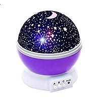 ضوء ليلي للأطفال، جهاز عرض القمر والنجوم، مصباح إضاءة ليلية لغرفة النوم (بنفسجي)