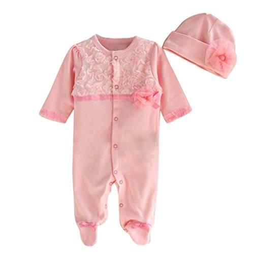 Hunpta Säugling neugeborenes Mädchen Mütze Hut + Strampler Bodysuit Playsuit Kleidung Set Outfit (60CM, Rosa)