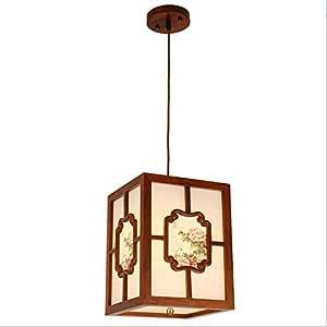 New Chinese Style Rectangular Chandelier Light Restaurant Bar Table Pendant Lamps Bar Creative Art Zen Chinese Wind Candle Holder Chandelier
