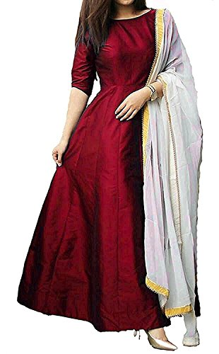 Royal Export Women's Taffeta Silk Blue Gown (maroon, XX-Large)