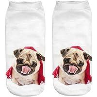 VJGOAL Unisex moda casual Divertido perro 3D Impreso Calcetines casuales Lindos calcetines de tobillo de corte
