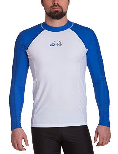 Herren-langarm-haut-anzug (iQ-Company Herren UV-Shirt IQ 300 Watersport Long Sleeve Kleidung, Blau-weiß, L (52))