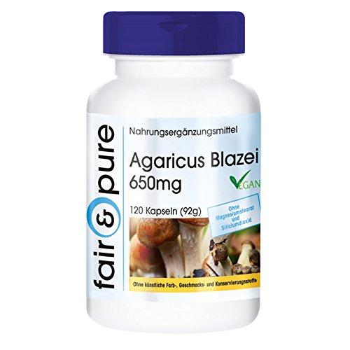 Agaricus Blazei 650mg (ABM, Agaricus Blazei Murill),Vitalpilz, vegan, natürlich, ohne Magnesiumstearat, 120 Kapseln