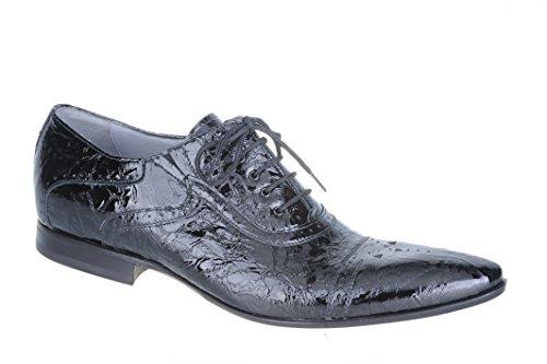 Nero Giardini Hommes Chaussures Élégant En Cuir Verni À Lacets P100641u - 100 Peinture Antares Noir