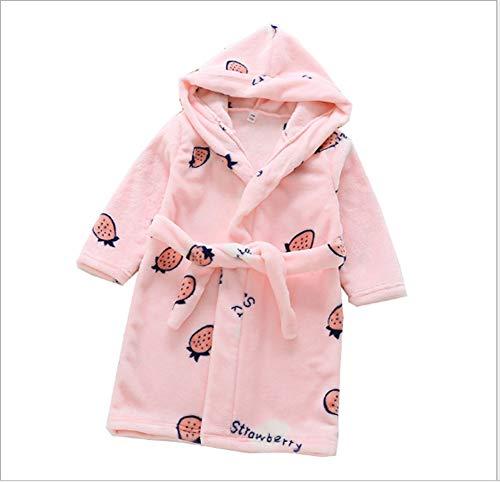 XINNE Jungen Mädchen Kapuzen-Bademantel Unisex Kleinkinder Morgenmantel Weichem Flanell Pyjamas Nachtwäsche Nachthemd Größe 140 Rosa Erdbeere