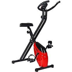 Merax® Heimtrainer klappbare F-Bike Ergometer Fitnessbike Hometrainer Fitnessfahrrad mit Handpulssensoren/Magnetwiderstand/ Trainingscomputer/LCD Display (Rot)