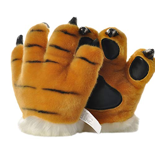 Kostüm Dinosaurier Schwanz - LANFIRE Flauschige künstliche Tiger und Dinosaurier Paw Handschuhe, Stirnband und Schwanz Kostüme Cosplay Tiger oder Dinosaurier Party Kostüm für Kinder (Yellow tiger gloves)