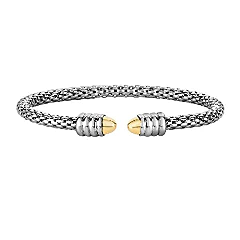 18ct Gold Silver Yellow Rhodium Finish 3mm Popcorn Chain Cuff Bangle With Domed Cuffs Bracelet