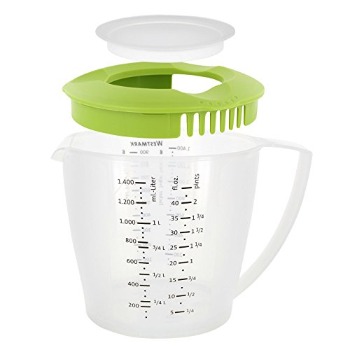 Westmark Rührbecher mit Spritzschutz, Deckel und Ausgießer, Kunststoff, Füllvolumen: 1,4 Liter, Helena, Transparent/Apfelgrün, 3105227A