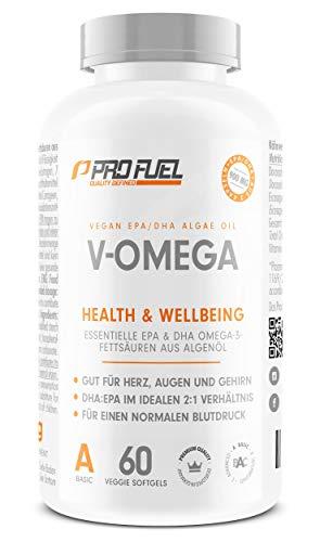 Vegan Omega 3 Kapseln hochdosiert | Hochwertiges Omega 3 vegan mit hohem EPA & DHA Gehalt - besser als Fischölkapseln! V-OMEGA 60 Kapseln - Omega 3 Dha Kapseln