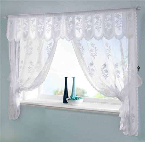 WHITE voile net CURTAINS DRAPES Set 100 \