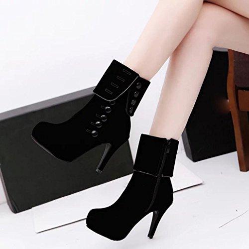 OVERMAL Femmes Hiver Talons Hauts Bottillons DéCoration Boucle Zipper Plate-Forme Bottes Chaussures Noir