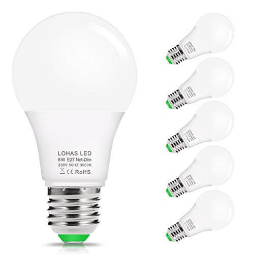 6W LED Lampe, Warmweiß 3000K, LOHAS E27 LED Birne, 520LM, Ersetzt 40W Halogen/Glühlampe, A60 LED Leuchtmittel, fur Badezimmer und Schlafzimmer, Nicht Dimmbar, 240 Grad Abstrahlwinkel, 5er Pack -